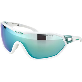 Alpina S-Way CM+ Okulary rowerowe, white matt-pistachio/emerald mirror